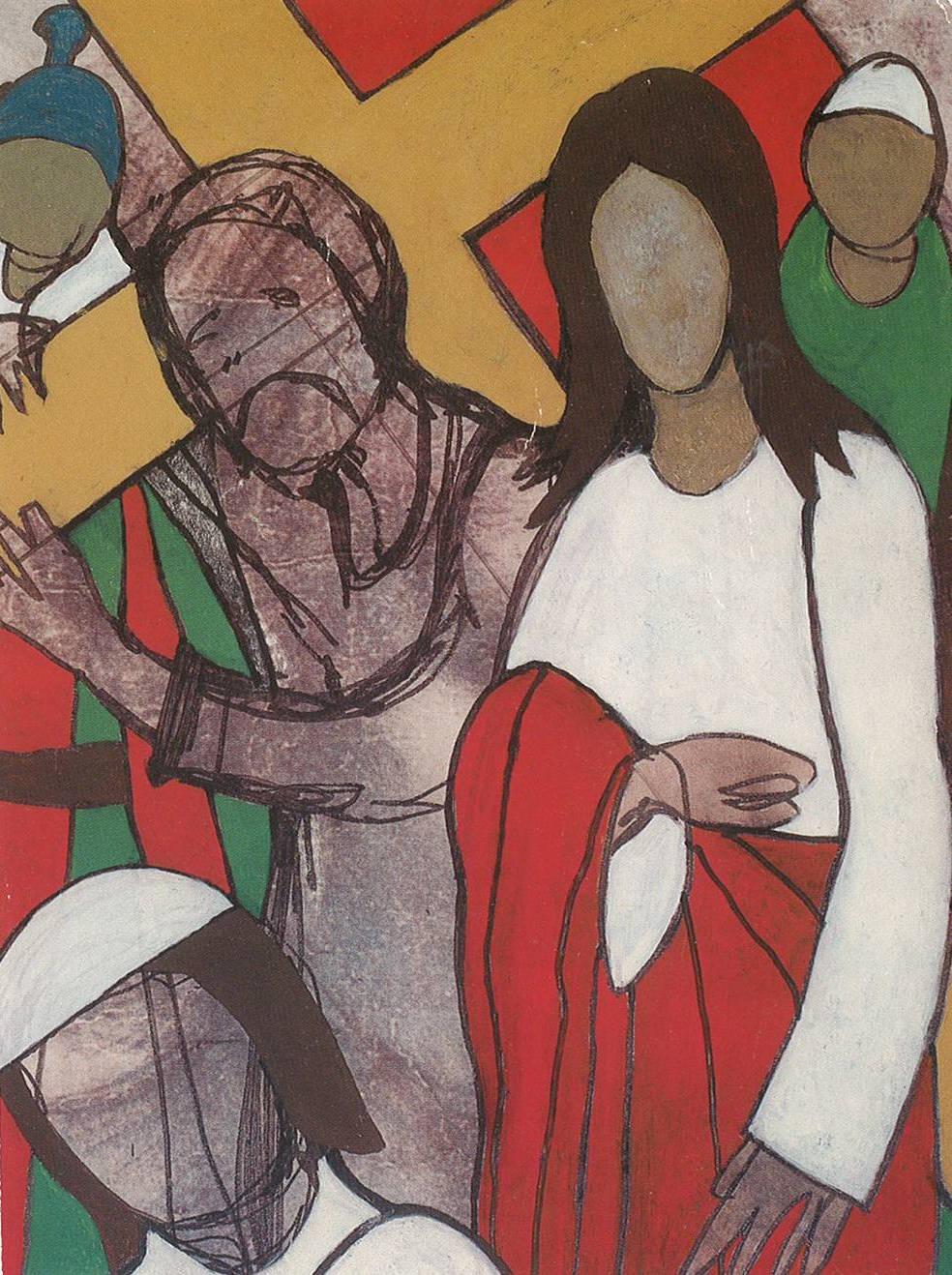 Sedam postaja križnog puta - Peta postaja - Šimun Cirenac pomaže Isusu nositi križ (kombinirana tehnika, 24.5 cm - 20 cm, 10.6.1989.)
